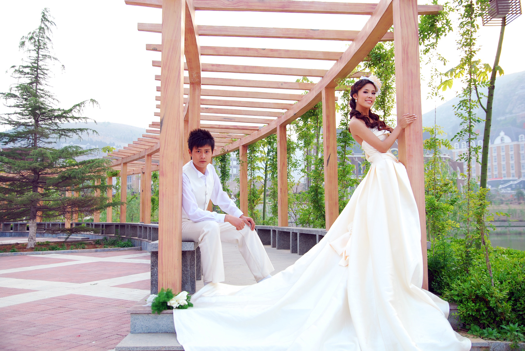A Beautiful Bride and Groom Awaiting Ceremony