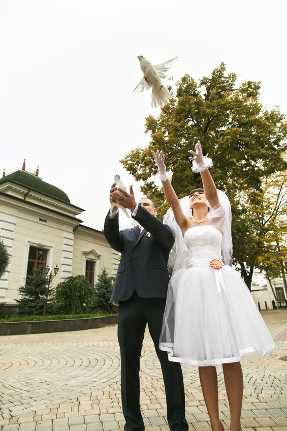 Bride Letting White Dove Fly with Groom Outdoors