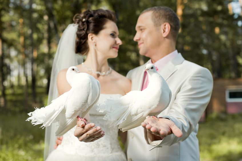 Happy Newly Married Couple with Two White Pigeons